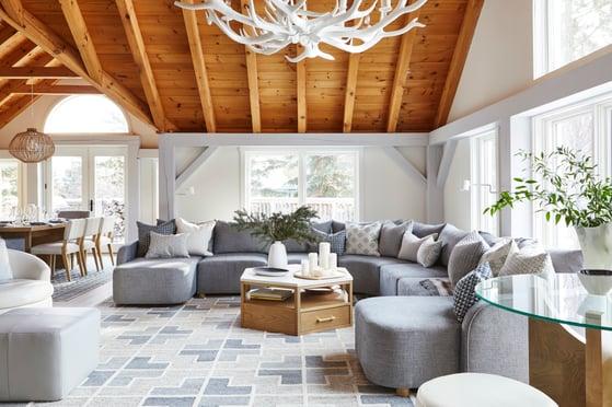 2 Normerican Timber Frames, Sarah Richardson Design, Living Room, Painted Timbers, Natural Timbers