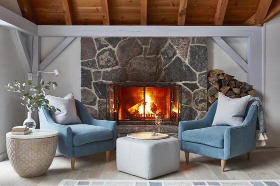 3 Normerica Timber Frames, Sarah Richardson Design, Living Room, Fireplace, Cathedral Ceiling, Painted Timbers, Natural Timbers