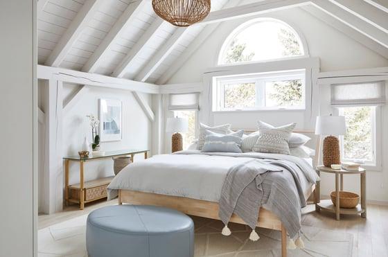 5 Normerica Timber Frames, Sarah Richardson Design, Master Bedroom, Painted Timbers