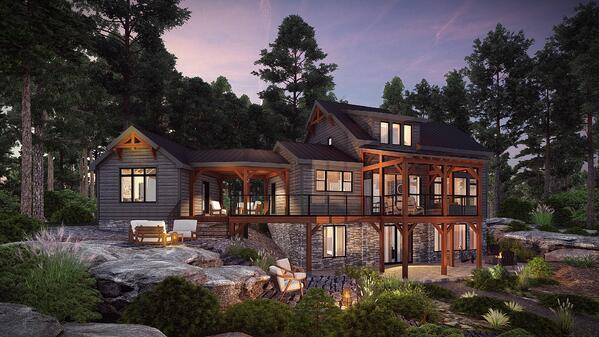 Normerica Timber Homes, House Plans, The Ranger 3575, Exterior, Rear, Cabin Side, Dusk