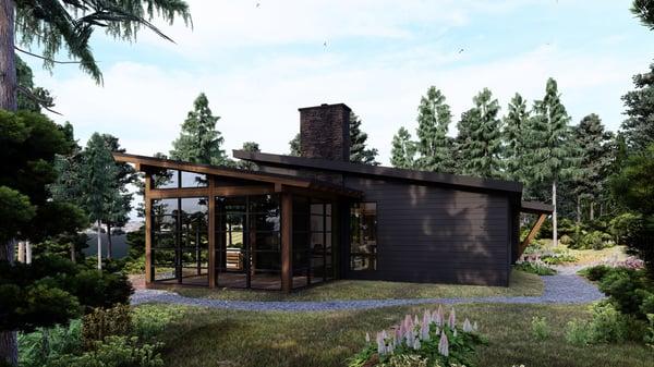 Timber Frame Cottage Designs Plans | The Bayfield 3945 | Normerica | Exterior, Back, Porch