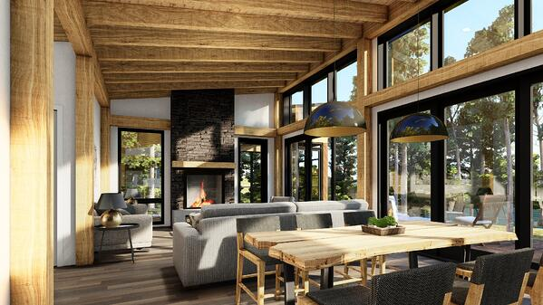 Timber Frame Cottage Designs Plans | The Bayfield 3945 | Normerica | Interior