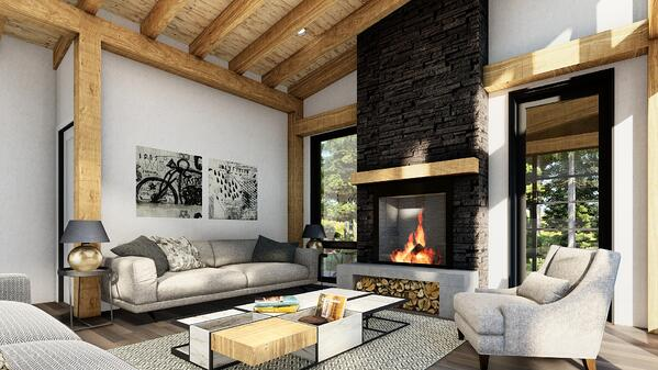 Timber Frame Cottage Designs Plans | The Bayfield 3945 | Normerica | Interior Fireplace