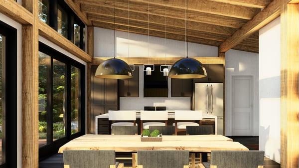 Timber Frame Cottage Designs Plans | The Bayfield 3945 | Normerica | Interior Kitchen